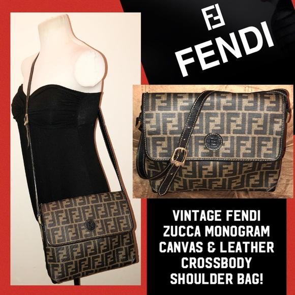 dc0b40ff33 Fendi Handbags - Vintage FENDI Zucca Signature Crossbody Bag!